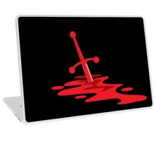 Blood red sword on a field of red blood stained battlefield Laptop Skin