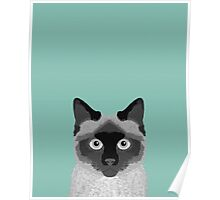 Ezra - Siamese Cat, Cute Kitten Retro Cat Art cell phone case, siamese, cute cat Poster