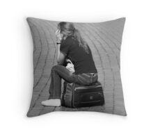Pondering Grey Matter B&W Throw Pillow