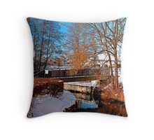 Bridge and river in winter scenery | architectural photography Throw Pillow