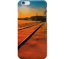 Winter season railroad sunset | landscape photography iPhone Case/Skin