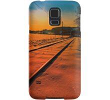 Winter season railroad sunset | landscape photography Samsung Galaxy Case/Skin