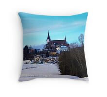Village skyline in winter time | landscape photography Throw Pillow