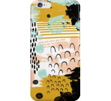 Ames - modern abstract painting in free mark making colors navy mint gold white blush iPhone Case/Skin