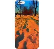 Winter avenue trail at sundown | landscape photography iPhone Case/Skin