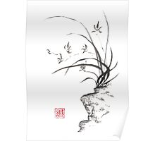 Dancing on the edge sumi-e painting  Poster