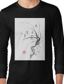 Dancing on the edge sumi-e painting  Long Sleeve T-Shirt