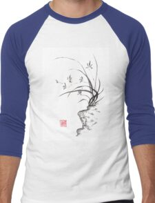Dancing on the edge sumi-e painting  Men's Baseball ¾ T-Shirt