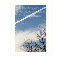 wake of the plane in the clouds Art Print
