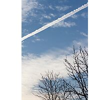 wake of the plane in the clouds Photographic Print