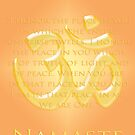 Om or Aum Symbol with Namaste quote by cinn