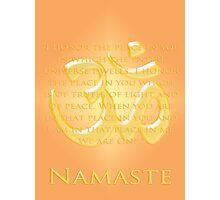 Om or Aum Symbol with Namaste quote Photographic Print
