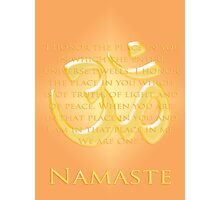 Om or Aum Symbol with Namaste quote Photographic Print