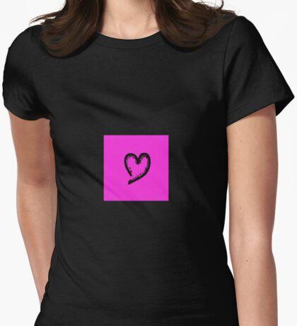 Black glitter heart Womens Fitted T-Shirt