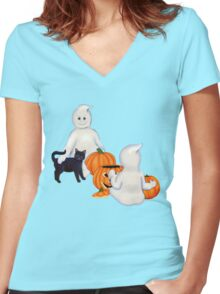 Halloween Friends Women's Fitted V-Neck T-Shirt