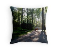 Trapper and the hidden doorway Throw Pillow