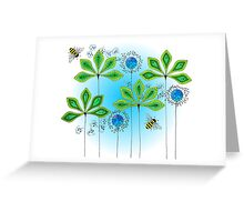 Leafy Green Bubble Bee Greeting Card