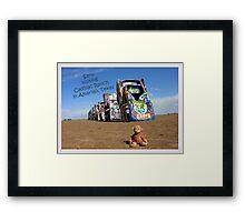 Saru at Cadillac Ranch Framed Print