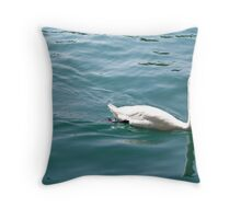 Swan on Lake Zurich Throw Pillow