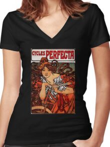 'Cycles Perfecta' by Alphonse Mucha (Reproduction) Women's Fitted V-Neck T-Shirt