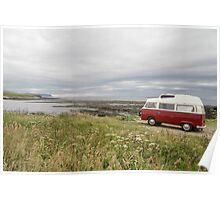 VW Camper on Orkney Poster