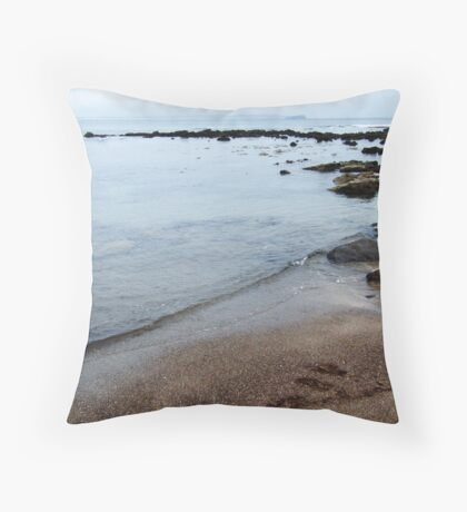 dull day at the ocean Throw Pillow