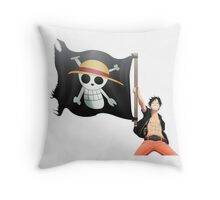 Luffy with the flag Throw Pillow