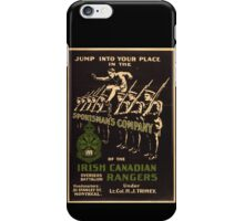 'Irish Canadian Ranger' Vintage Poster (Reproduction) iPhone Case/Skin