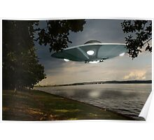 UFO Over Lake Poster