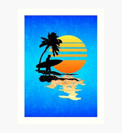 Surfing Sunrise Art Print
