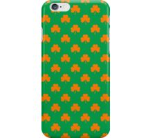 Orange Heart-Shaped Shamrocks on Irish Green St.Patrick's Day iPhone Case/Skin
