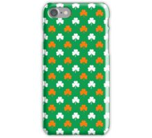 Orange & White Heart-Shaped Clover on Green St. Patrick's Day iPhone Case/Skin
