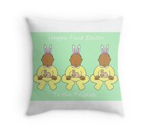 Triplets First Easter Throw Pillow