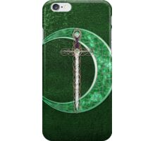 Green Celtic Moon And Celtic Sword iPhone Case/Skin