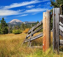 Broken Fence And Mount Lassen by James Eddy