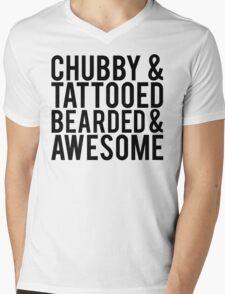 Chubby, Tattooed Bearded and Awesome Mens V-Neck T-Shirt