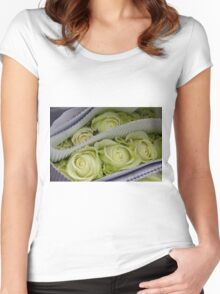 White Roses Women's Fitted Scoop T-Shirt