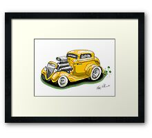 HOT ROD BEAST V8 CHEV STYLE yellow Framed Print