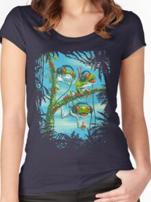 Frog Trio Rockin The Beats in Rainforest Women's Fitted Scoop T-Shirt