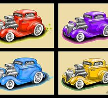 HOT ROD FOUR PACK CAR DESIGN by squigglemonkey