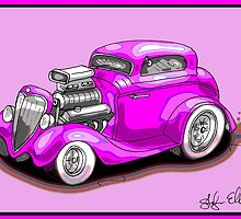 HOT ROD CHEV STYLE CAR PINK by squigglemonkey
