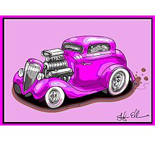 HOT ROD CHEV STYLE CAR PINK Photographic Print