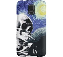 Skull with burning cigarette on a Starry Night Samsung Galaxy Case/Skin