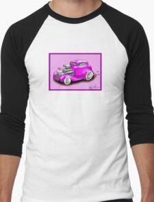 HOT ROD CHEV STYLE CAR PINK Men's Baseball ¾ T-Shirt