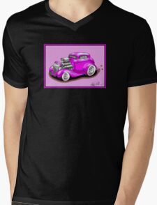HOT ROD CHEV STYLE CAR PINK Mens V-Neck T-Shirt