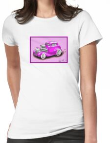 HOT ROD CHEV STYLE CAR PINK Womens Fitted T-Shirt