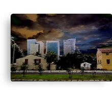 urban landscape under troubled skies Canvas Print