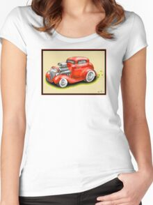 HOT ROD CAR CHEV STYLE RED Women's Fitted Scoop T-Shirt