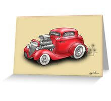 HOT ROD CAR CHEV STYLE RED Greeting Card