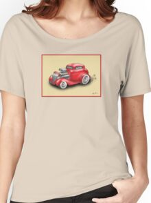 HOT ROD CAR CHEV STYLE RED Women's Relaxed Fit T-Shirt